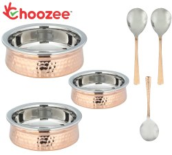 Choozee -Steel Copper Serving Handi Set of 3 Pcs with Serving Spoons (400ML, 600ML and 800Ml)