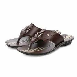 Mens Brown Casual PU Slippers