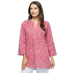 Cotton V-Neck Printed Tunic