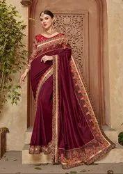 Garnet Maroon Embroidered Silk Saree