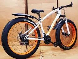 White Orange Fat tyre Cycle