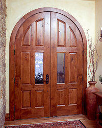Arched curved entry double door