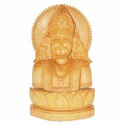 Wooden Natural Kiran Hanuman Statue