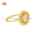 Ethiopian Opal Gemstone Yellow Gold Plated Silver Stackable Ring Jewelry