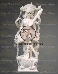 White Marble Saraswati Moorti