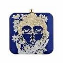 Blue Designing with Pearl Work Embroidery Extremely Delightful Clutch