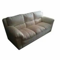 White Three Seater Leather Sofa Set