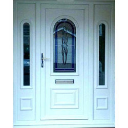 White Lever Handle UPVC Entrance Door, For Home