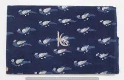 Indigo Blue Tota animal Bird Block Dabu Print Vegetable Color Cotton Fabric