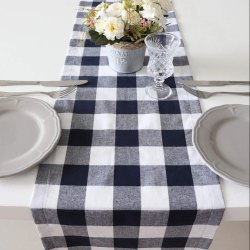 White And Black Indoor Dining Table Runner
