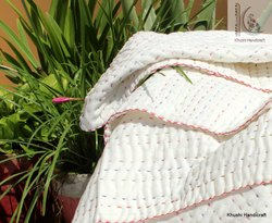 Pure White With Red Thread  Cot Size Kantha Baby Blanket