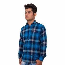 Cotton Collar Neck Men's Check Shirt