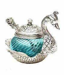 Silver Plated Mukhwas Swan Shaped Gift For Marriage Gifts