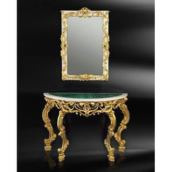Cast Iron and Glass Antique Table with Mirror