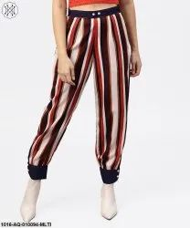 Aasi Cotton Multi Printed Ankle Striped Trouser