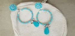 Silver Plated Blue Hanging Earring