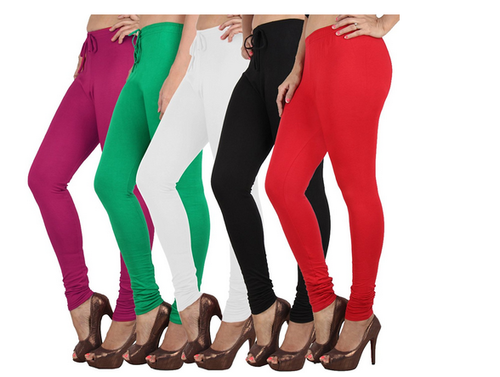 616bc6f98c3c7 Danbro Women Leggings White Black Red Green And Pink Pack Of 5, Rs ...