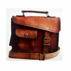 Side Brown Leather Laptop Bag