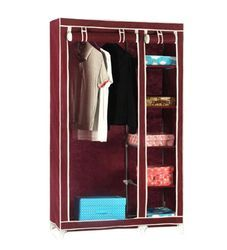 110 cm Maroon Foldable Fabric Wardrobe, For Home