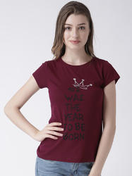 MsFQ Maroon womens round neck tee with chest graphic
