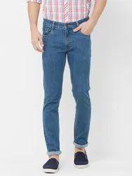 Button Cotton Lycra Solemio Men Blue Slim Fit Mid-Rise Clean Look Jeans