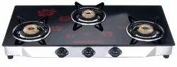 Sowbaghya 3 Burner Glass Top Gas Stove for Kitchen