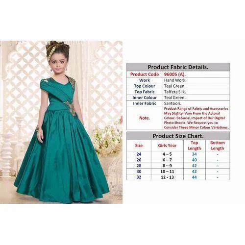 3224ada271536 Teal Green Party Wear Kids Fancy Gown