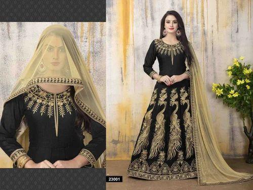 5ab46f2cc7b Banglori Silk Black Color Semi-Stitched Party Wear Heavy Floor Length Anarkali  Suit