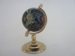 Cobalt Lapis Rainbow Mother of Pearl Brass Stand World Globe
