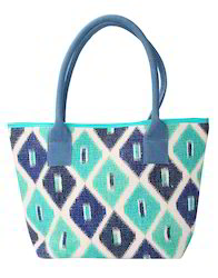 Hand Block Printed Ikkat Green Cotton Durrie Tote Bag