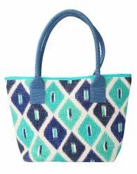 Hand Block Printed Ikkat Green Cotton Durrie Tote Bag