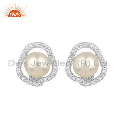 Zircon Natural Pearl Rhodium Plated Silver Stud Earrings Jewelry