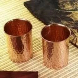 Copper Hammered Glass Set of 2