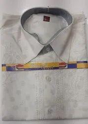 Casual Wear Mens Half Sleeve Cotton Chikan Shirt, Size: 38-46, Wash Care: Machine wash