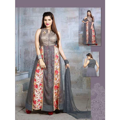 f52e36709f SILK INDIA Georgette Fashionable Floral Designer Gown, Rs 4580 ...