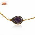 Zircon Aventurine Gemstone Bracelet Designer Gold Plated Silver Chain Bracelet