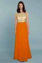 Female Georgette for prestige look Functional Wear Olay Orange Gown in Georgette ORO G-13