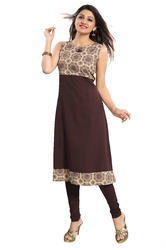 Sleeveless Anarkali Crepe Kurti