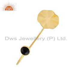 Wavy Disc Designer Gold Plated Silver Onyx Gemstone Cuff Bangles