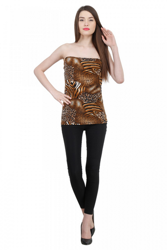 a6e5bedf4ce Pastel Colour Crafted In Fine Knit Fabric Animal Print Tube Top