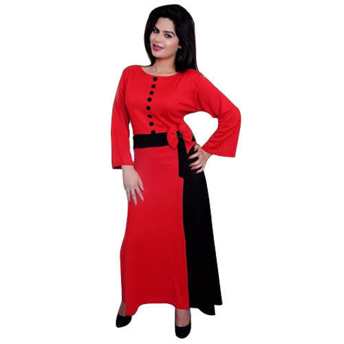 cd7965d37 Woolen Red   Black Ladies One Piece Long Dress