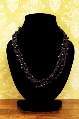 Female Festive Season and Partywear Handmade Beads Necklace Bison And Jet Black Color