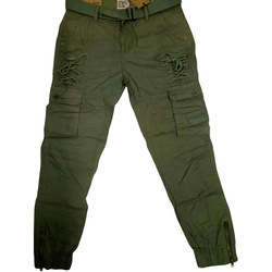 fb9bce712ad Dark Green Cotton linen Mens Cargo Pants
