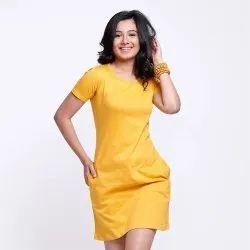 Plain Cotton T Shirt Dresses For Female