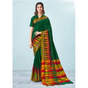Dark Green Cotton Silk Saree