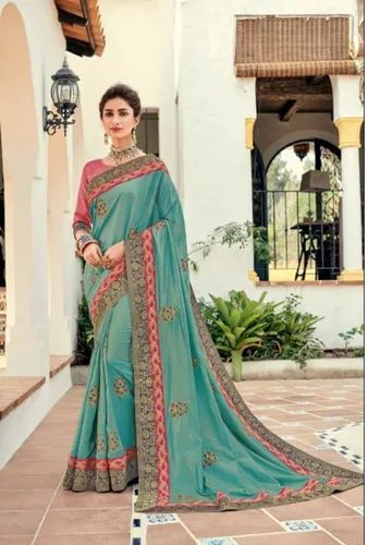 d44ee2d611 Pure Chiffon Indian Women Green Saree With Blouse Piece, Rs 1235 ...