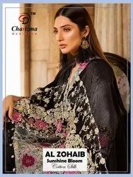 Charizma Designer Al Zohaib Sunshine Bloom Cotton Silk Pakistani Style Salwar Kameez Catalog