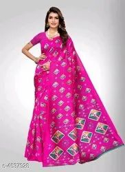 Plain Red Charvi Alluring Attractive Sarees With Blouse Piece