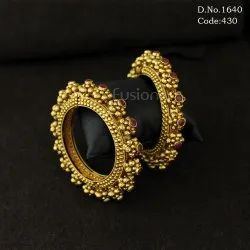 Traditional Antique Designer Openable Bangles with Ruby Stones