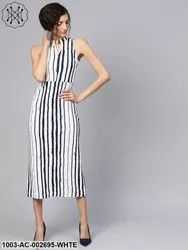 Abstract Stripes Midi Dress